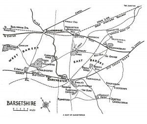 "Barsetshire Map from ""Trollope: A Commentary"" by Michael Sadleir (1927)."